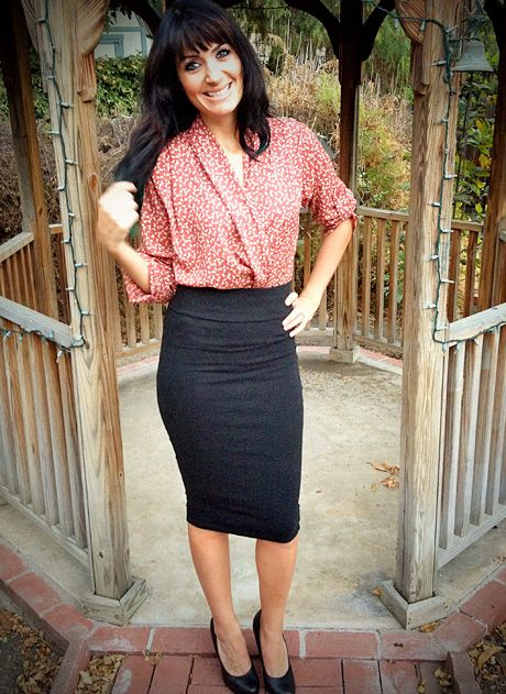 For Brent, my awesome stylist...This pencil skirt, with a waistband and solid print will be much more flattering on me.  Love the longer length.  I loved the one you picked for me...but in the end the stripes were not so flattering to my larger hips and gave me a pooch in a spot I don't really have one. :-(