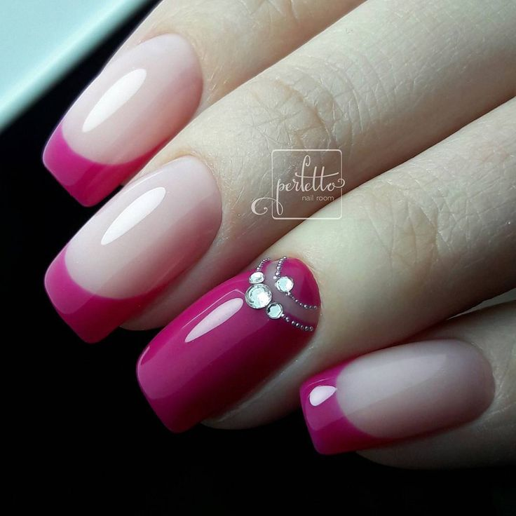 Hot pink French nails with solid pink accent nail