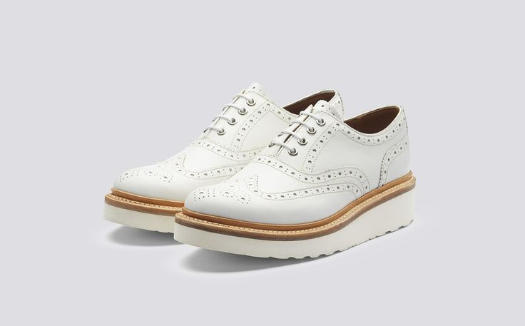 Emily | Women's Oxford Brogue in White Calf Leather with a White Wedge Sole | Grenson Shoes - Three Quarter View