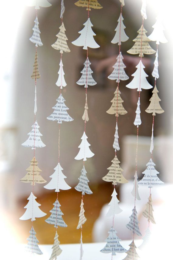 "Items op Etsy die op Christmas Garland, paper garland, ""My French Christmas Tree"", Christmas ornament, Christmas decor, holiday decor, Paper baubles, home decor lijken"