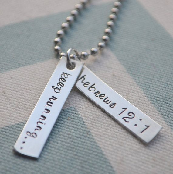 Hand Stamped Running Necklace Keep Running by SilverWingsDesigns                                                                                                                                                      More