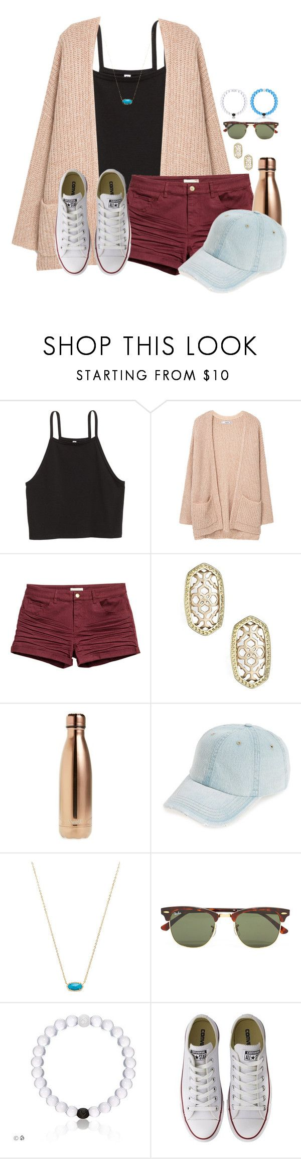 """~mall outfit~"" by flroasburn ❤ liked on Polyvore featuring MANGO, H&M, Kendra Scott, S'well, Fantasia, Ray-Ban and Converse"