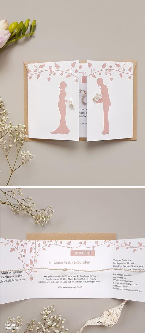 """Hochzeitseinladung """"Romantisch mit Kordel"""""""