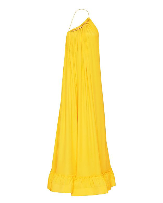 Stella McCartney Astrid Gown: A floor length gown in bright sun tone is a stunner. The billowing silk crepe de chine begins with a gold-tone hardware detailed one shoulder drawstring necklace strap and leads to a ruffled hem. Deep neckline. Sleeveless. Low back. In sunshine. Fabeic: ...