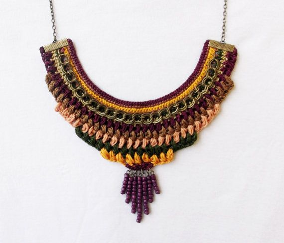 Crochet necklace / bib necklace / statement necklace / colorful necklace / textile jewelry / fiber necklace / boho hippie / ethnic