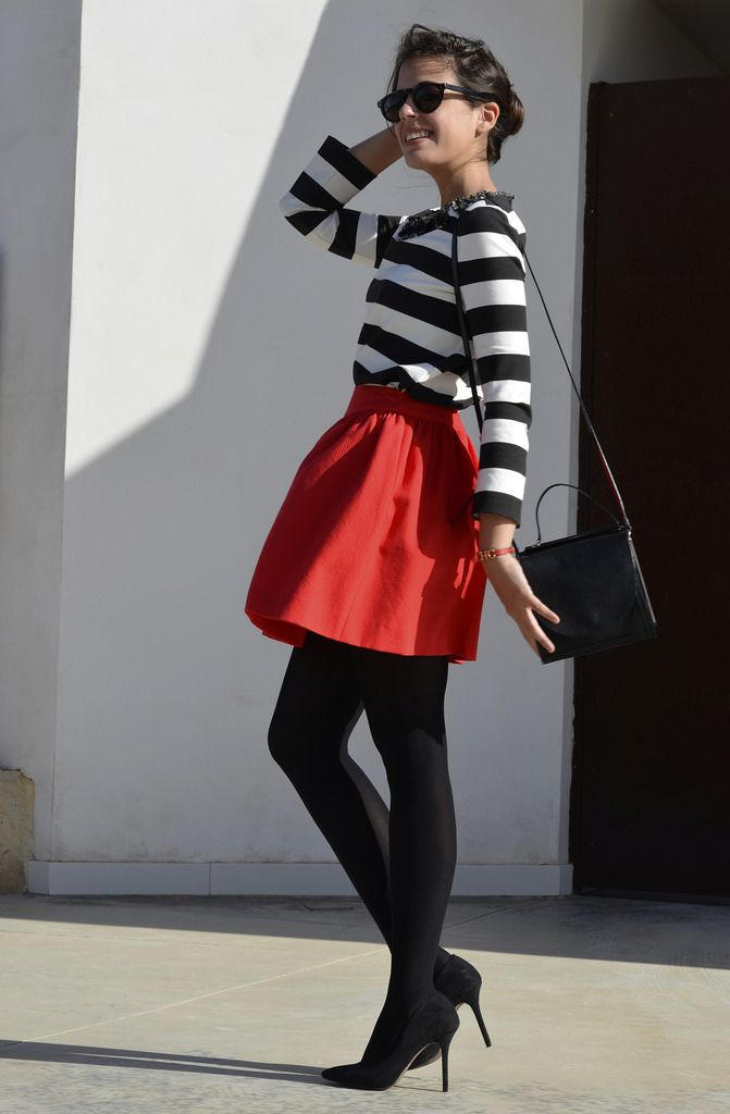black & white stripes and red