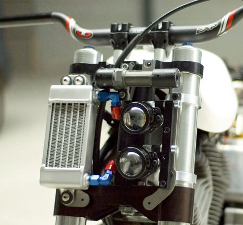 Another vertically stacked headlight on a motorcycle. Interesting but no reason given for the design choice.