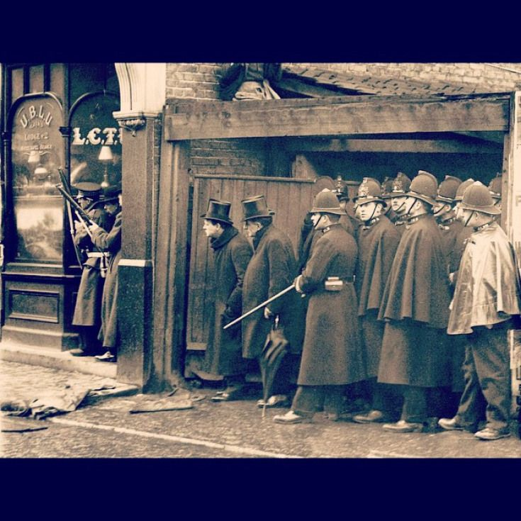 Photograph from the Siege of Sidney Street, Stepney, 1910
