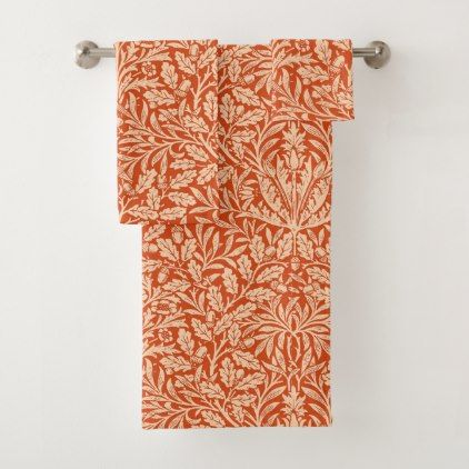 Art Nouveau Floral Damask Mandarin Orange Bath Towel Set - vintage gifts retro ideas cyo