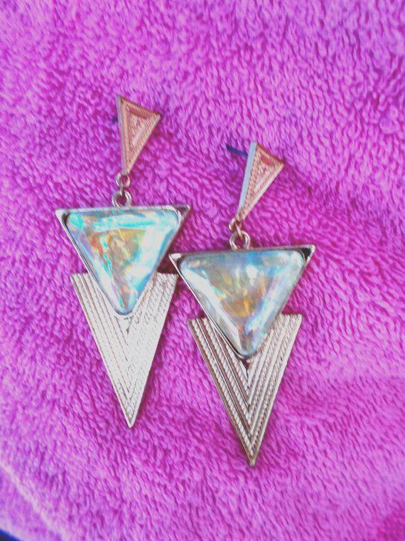 Vintage 'Trashy Glamourpuss Triangular Earrings Oversized Costume Jewellery, Pin Up Girl, Boho, 1940s Hollywood, 1980s Retrox