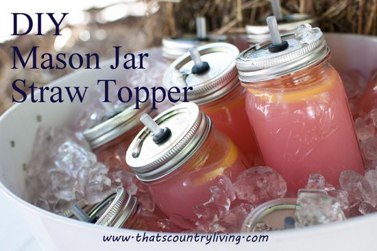 {Party Tip} DIY Mason Jar No-Mess Straw Toppers -  how to put straw holes in mason jar lids for party drinks!