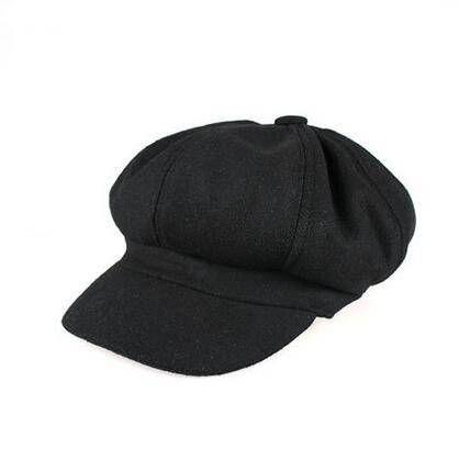 Plain black newsboy cap for men cotton hat for spring wear
