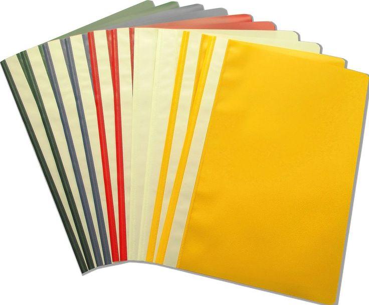10 x proOFFICE Schnellhefter, DIN A4, PP-Folie,je 2x weiß, grün, rot, gelb, blau