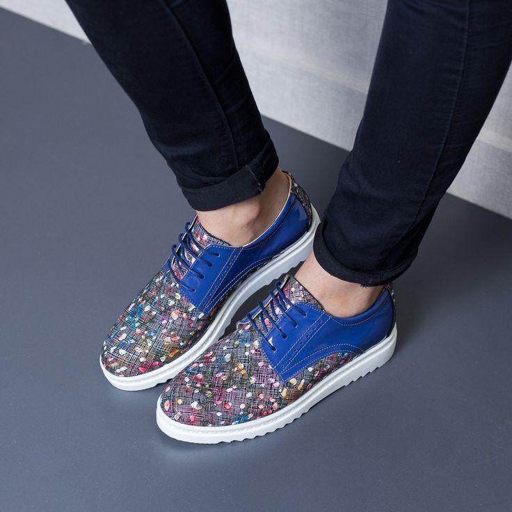 Pantofi dama Piele Iustina multicolori tip casual Incaltaminte casual confortabila Exteriorul pantofilor este realizat din piele naturala Produsul este fabricat in Romania Similare