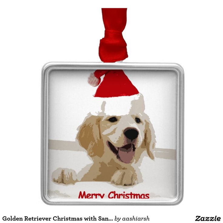 #Golden #Retriever #Christmas with #Santa #Hat Metal #Ornament #merrychristmas #animal #pet #dog #doggie