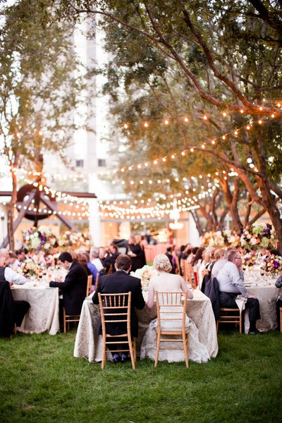 Pretty gold chairs and gorgeous fairy lights .... Want a wedding at the country club so bad.