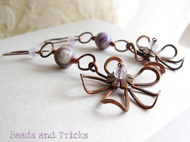 Fiore arruffato: ancora orecchini (viola)