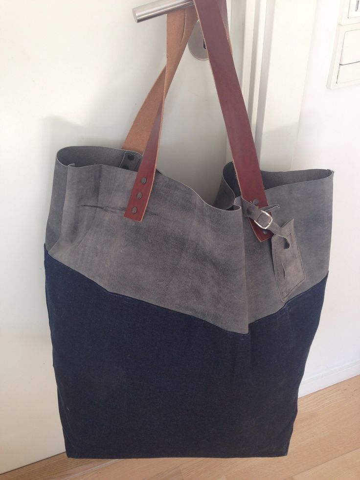 Weekender/ Big tote. Waxed denim and suede, leather handles.