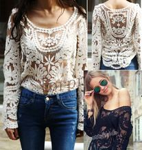 Summer Fashion Street Pretty Guide Women's Semi Embroidery Floral Lace Crochet Blouse Hollow out Shirt