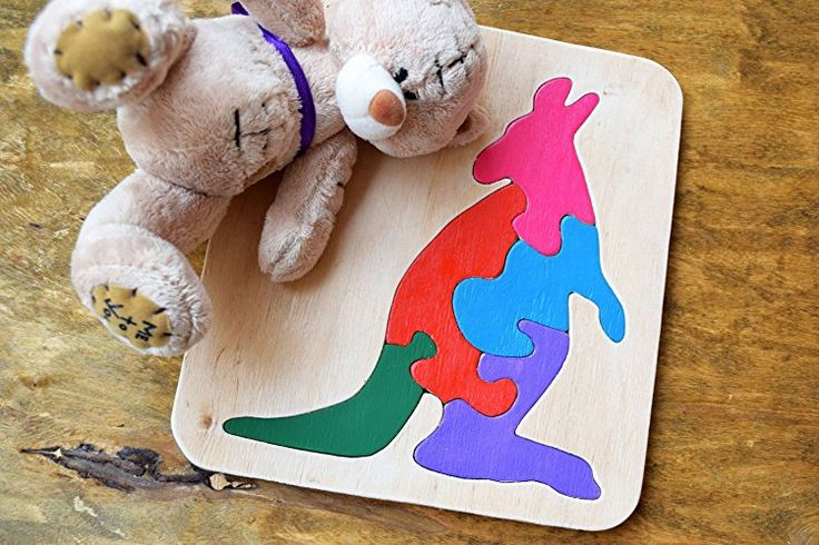 Wood puzzle kangaroo Waldorf toy Montessori Toys wooden educational game animal baby Toys wooden puzzles Baby Shower Gift toddler learning game Eco friendly Toddler game Jigsaw Puzzle