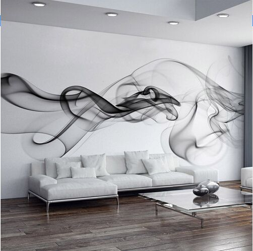 Custom Photo Wallpaper Modern 3D Wall Mural Wallpaper Black White Smoke Fog  Art Design Bedroom Office Part 95