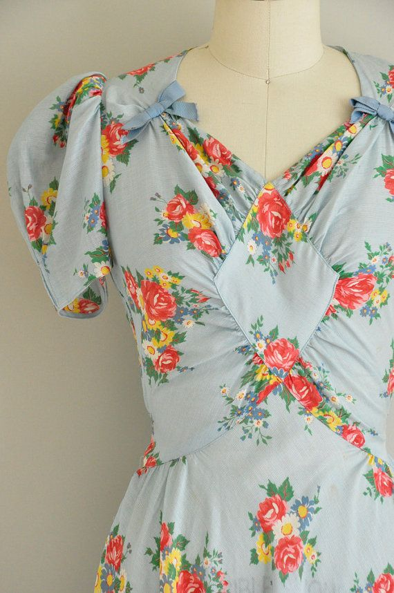 vintage 1930s dress / 30s floral cotton gown/ by simplicityisbliss, $245.00