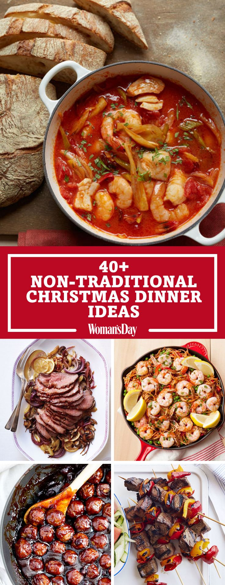 Save these non-traditional Christmas dinner ideas for later by pinning this image and follow Woman's Day on Pinterest for more.