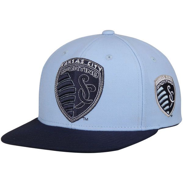 Men's adidas Light Blue Sporting Kansas City Two-Tone Flat Brim Snapback Hat - FansEdge.com