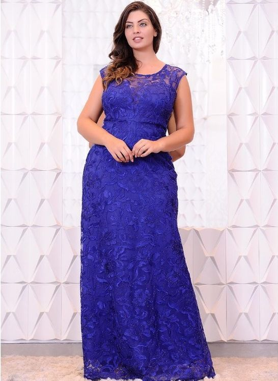vestido de festa azul renda