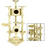 BestPet Cat Tree Condo Furniture Scratching Post Pet Cat Kitten Pet House, 80-Inch, Beige