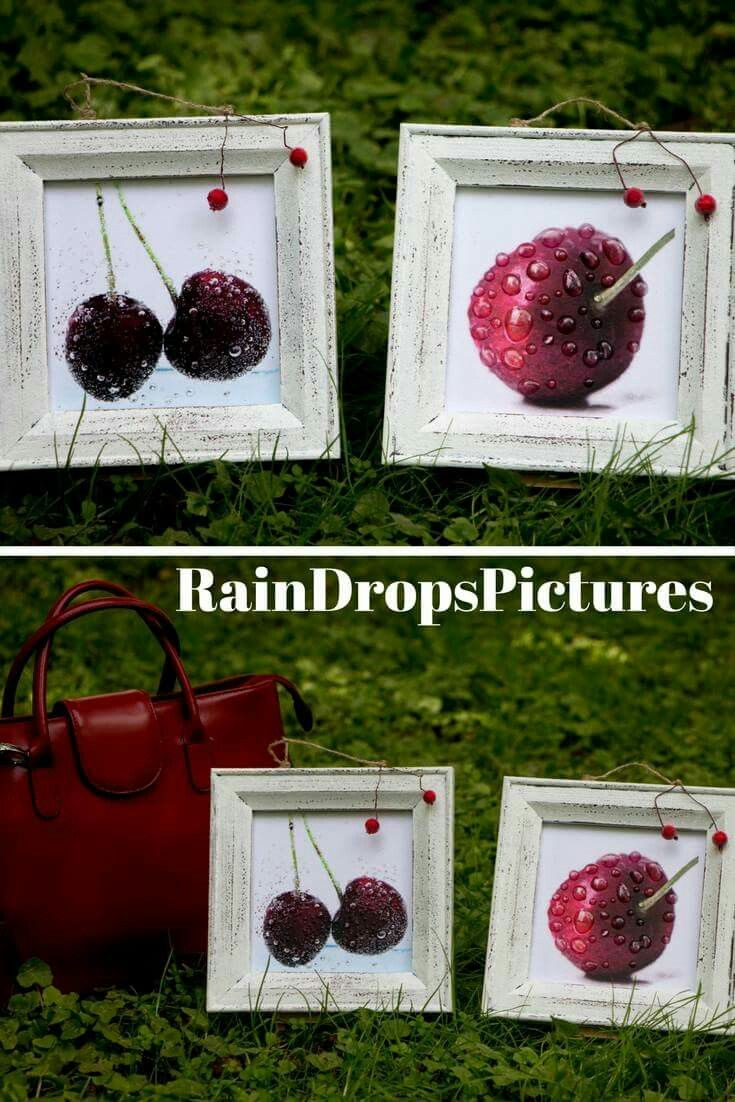 Cherry Kitchen Decor Fruit Kitchen Modern picture Art No glass 3D rain drops Food Decoupage Fruit picture Dining Room Wall Decor Cherry  #ideas #Сhristmas #gift