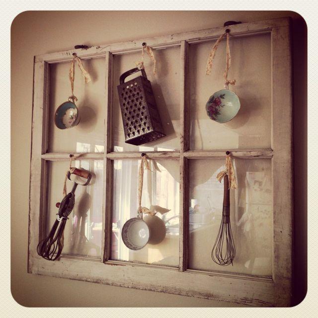 Old window, kitchen gadgets & grandma's tea cups...love