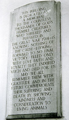 Plaque in memory of animals sacrificed during the First World War. Situated at the Memorial Dispensary in Kilburn, north west London.