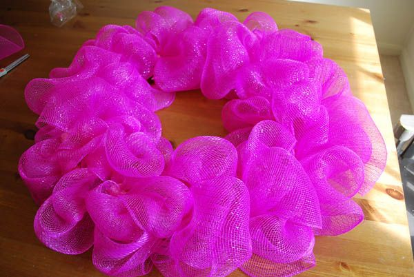 """Deco Mesh on a green wire wreath base.  Found a wreath base, considering making an """"it's a girl"""" wreath for Maddie."""