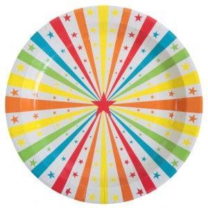 Assiette carton cirque étoiles couleur pour déco de table. http://www.baiskadreams.com/2996-assiette-carton-cirque-etoile-23-cm-les-10.html