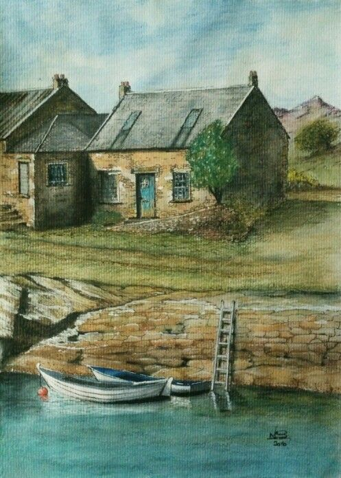 Fisherman's Cottage. Watercolour by Norman Sumpton.