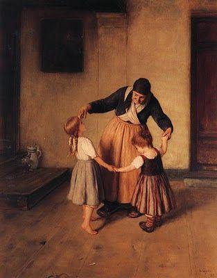 Grandma and Children, Nikolaos Gyzis (1842-1901). Greek Painter