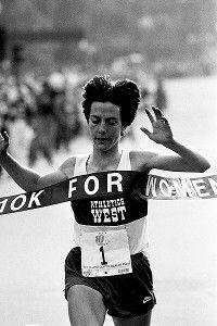 """Joan """"Joanie"""" Benoit-Samuelson. Won the 1979 Boston Marathon at age 22. Won it again in 1983 with the world-record time of 2:22:43. She won gold at the 1984 Summer Olympics in the first ever women's Olympic marathon."""