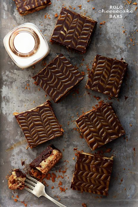 So very, completely delicious! Rolo Cheesecake Bars. food caramel chocolate cheesecake Rolo
