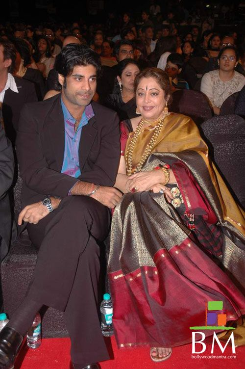 kiron-Kher with her son in a traditional Coimbatore silk Saree . Description by Pinner Mahua Roy Chowdhury