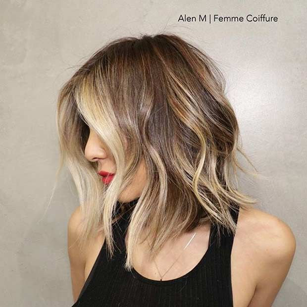 31 Best Shoulder Length Bob Haircut with Blonde Balayage Highlights