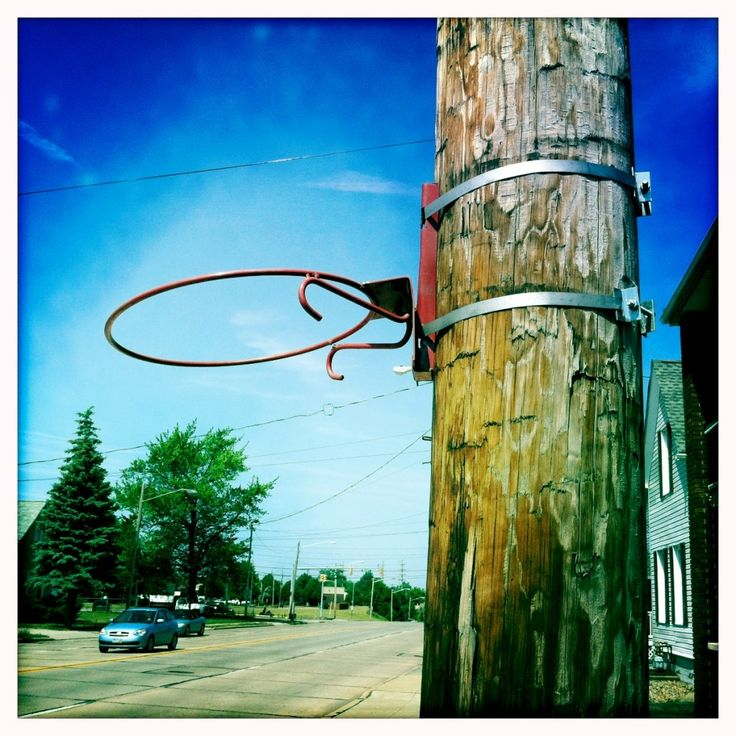 Cool Basketball Hoop Attached To Utility Pole Basketball