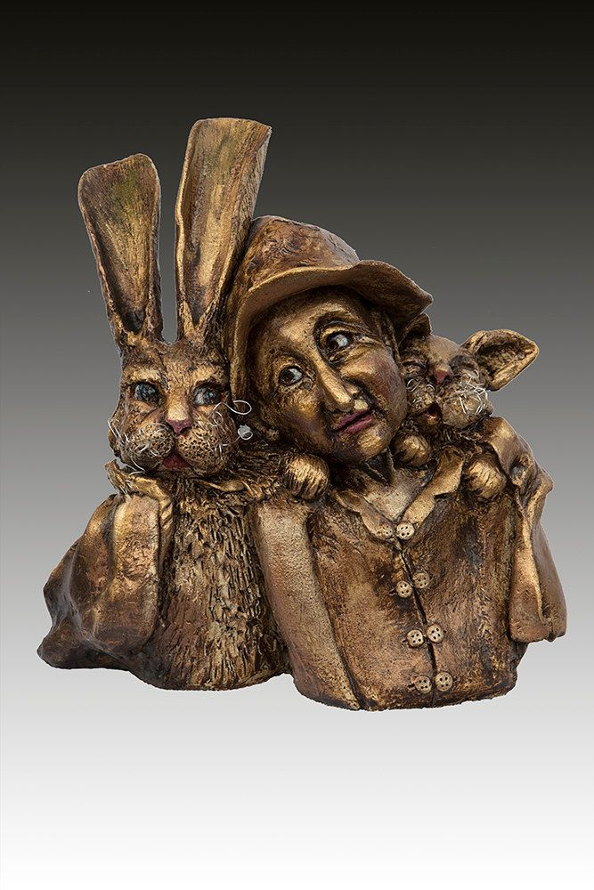 "Rabbit ,Man, Cat  Ceramic Sculpture fired to stoneware "" Friend To The…"
