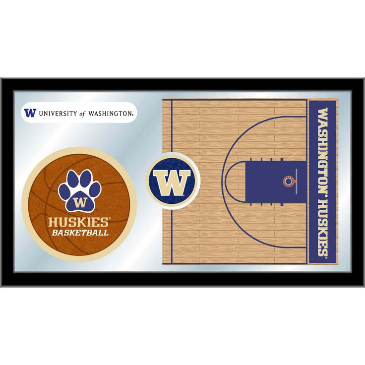 Washington Huskies Basketball Court Mirror Wall Art