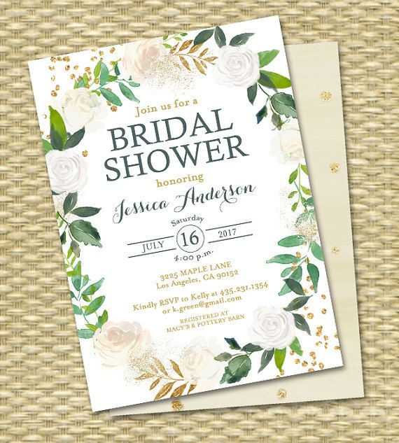 Bridal Shower Invitation Printable Invite White Roses Gold Glitter Green Botanical Greenery ANY EVENT