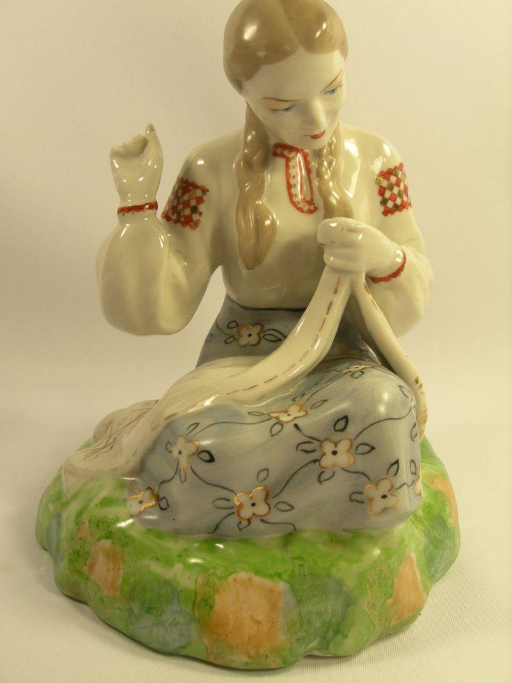 """Vintage Porcelain Figurine """"Seamstress"""" Soviet USSR Polonne Stamped etsy.com"""