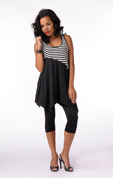 Elegantly Styled Striped Top/Dress  Price: $44.99