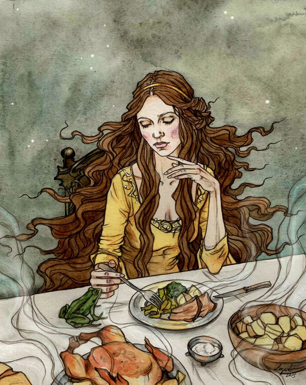 The Frog Prince. Dining with a frog. by LiigaKlavina.deviantart.com on @DeviantArt