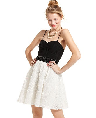 ... Dress, Sleeveless Ruched Colorblock A-Line - Juniors Dresses - Macy's