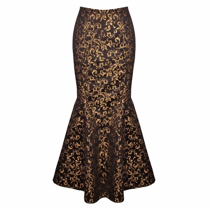 Long Victorian Golden Brocade Skirt